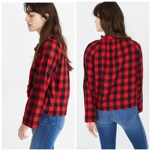 {Madewell} Tie-Neck Popover Shirt in Buffalo Check